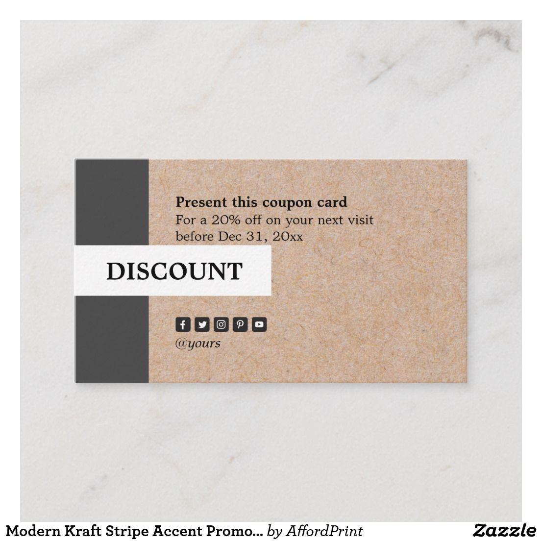 Modern Kraft Stripe Accent Promotional Discount Business Card