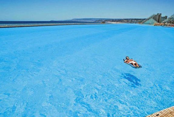 Largest swimming pool in the world its in Chile,this is only a small portion as it covers 20Acres