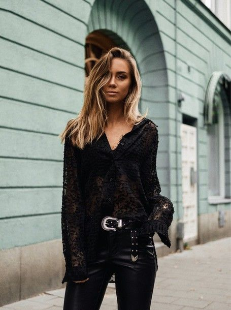 Blouse: tumblr black top black top black lace top lace top pants black  pants black