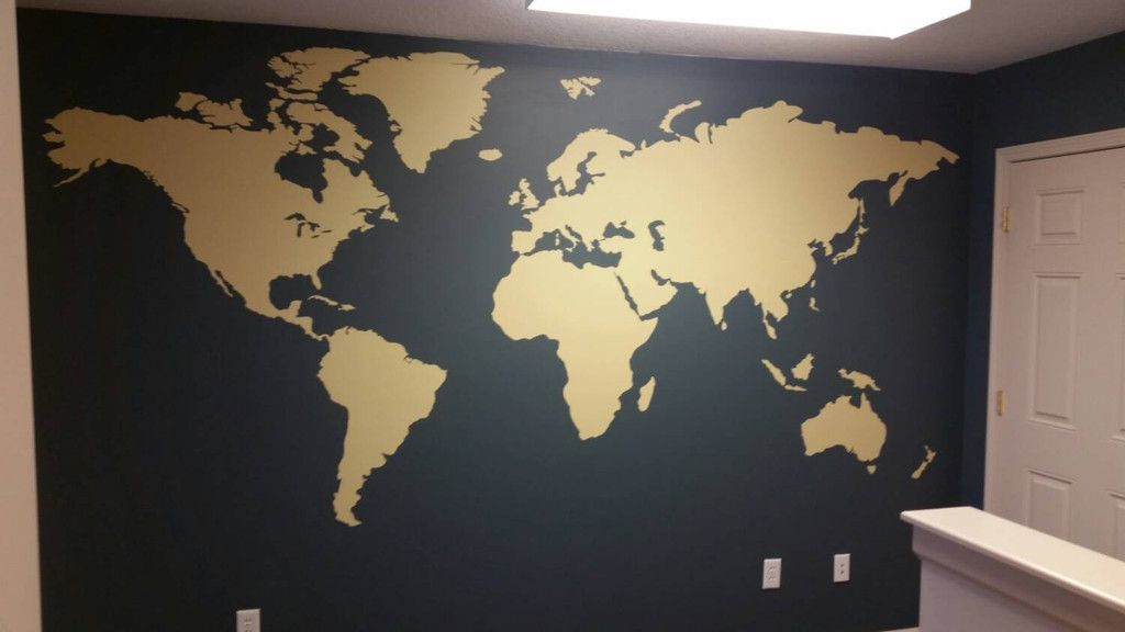 Large world map wall decal installed world map wall decals and large world map wall decal installed gumiabroncs Choice Image