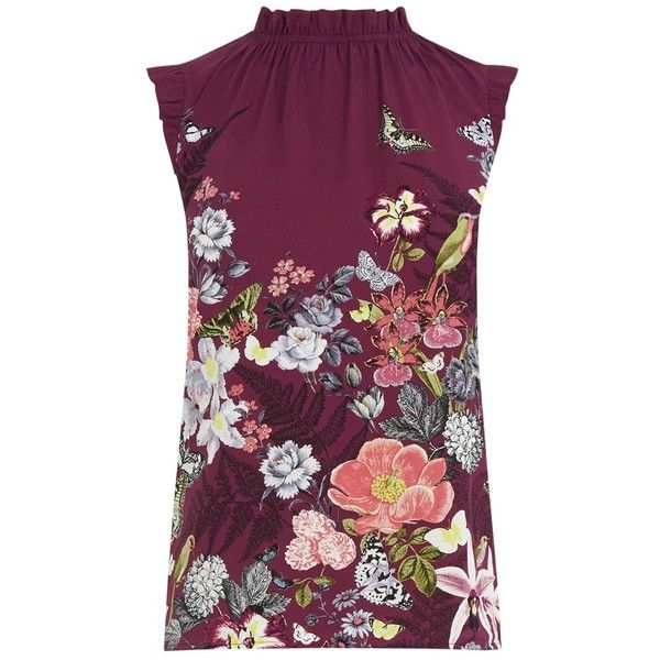 479f3a34b9c422 Oasis Botany Pie Crust Shell Top, Merlot (€25) ❤ liked on Polyvore  featuring tops, shirts, ruffle sleeve top, sleeveless tank tops, floral  print tank top, ...