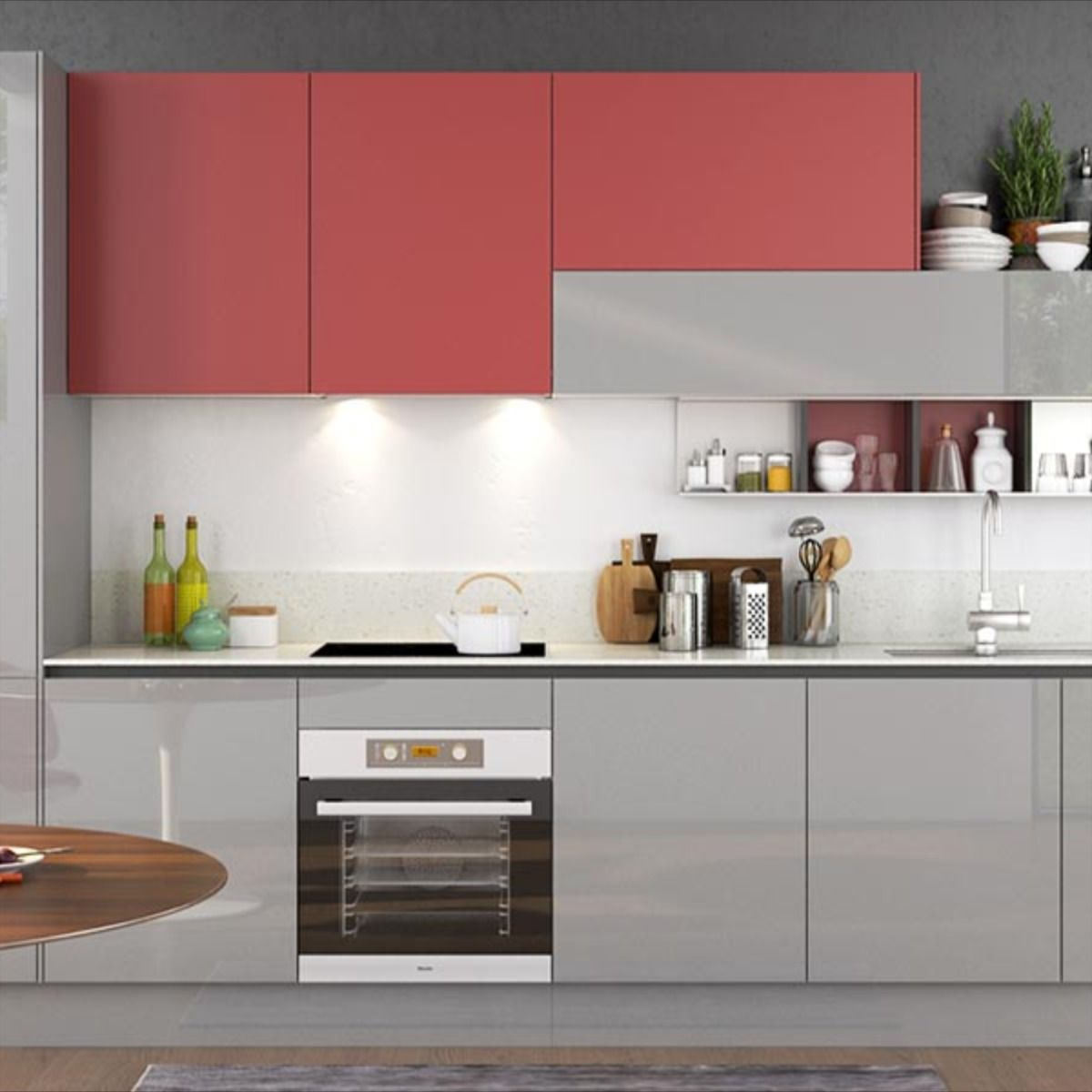 Nl Furniture 360cm Width Standard Kitchen Cabinet With Lacquer Finish In 2020 Keukens Idee