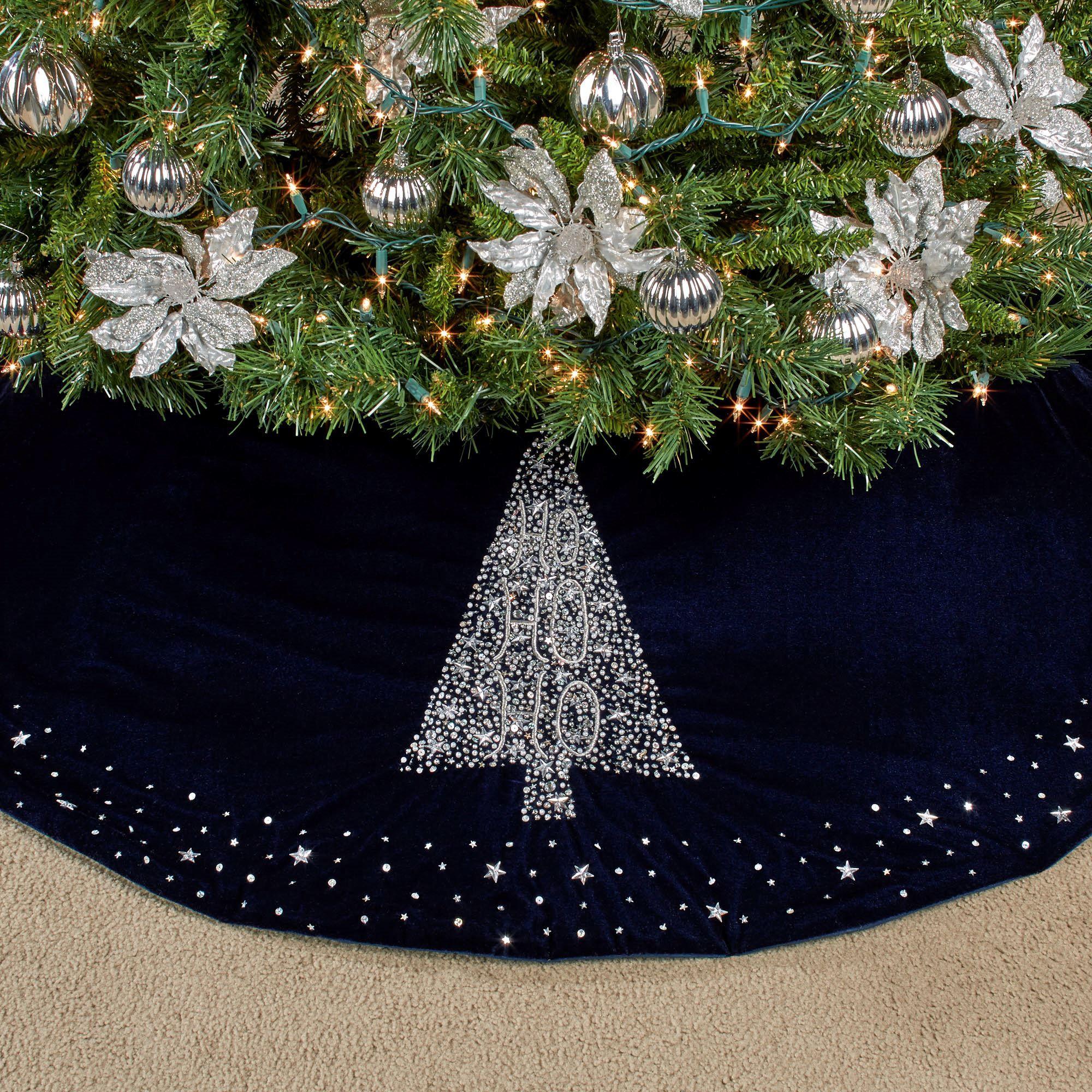 Ho Ho Ho Midnight Blue Christmas Tree Skirt Blue Christmas Tree Christmas Tree Skirt Silver Christmas Decorations