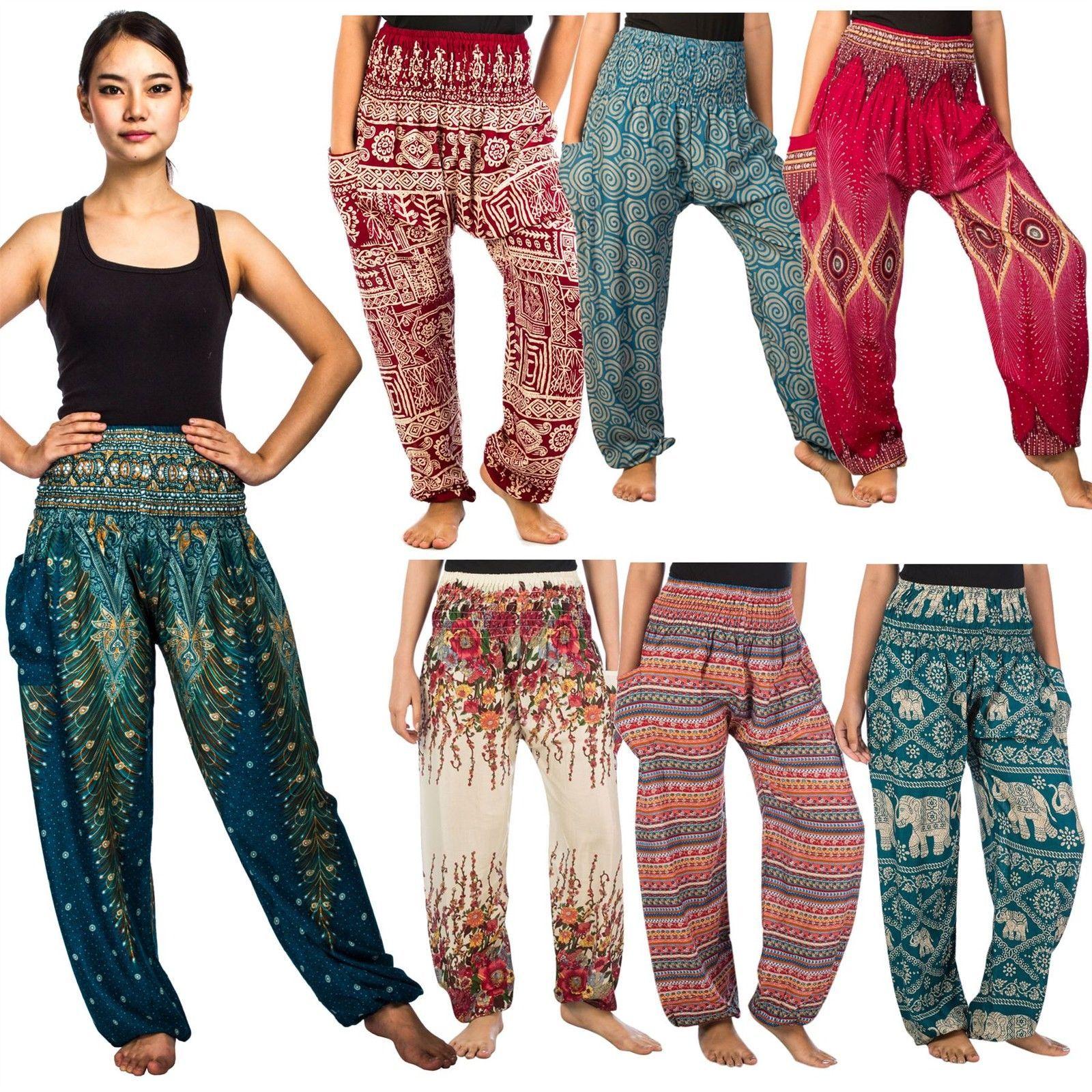 6c600f60436 Thai Flowy Comfy Yoga Beach Baggy Boho Gypsy Hippie Women Harem Pants  Trousers