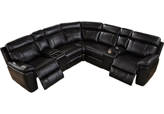 Shop For A Grandview 7 Pc Black Reclining Sectional At Rooms To Go