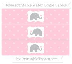 graphic relating to Free Elephant Printable called Red Star Practice Youngster Elephant H2o Bottle Wrappers