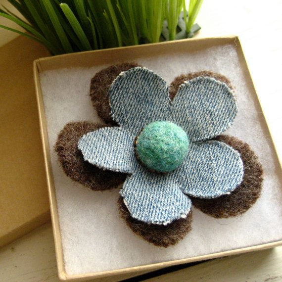 Felt and Denim Flower Pin in Brown and Aqua by FishHollow on Etsy, $10.00