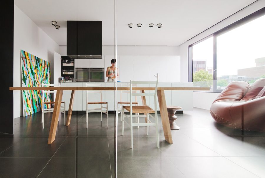 White And Small Minimalist House Interior With Glass Partition In
