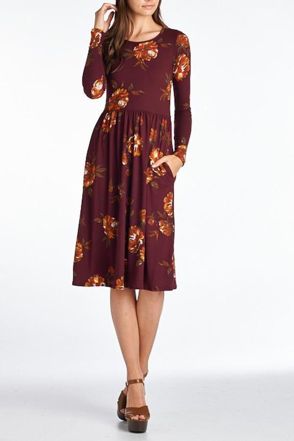30bb90c7c69 Gemma Floral Dress in Wine