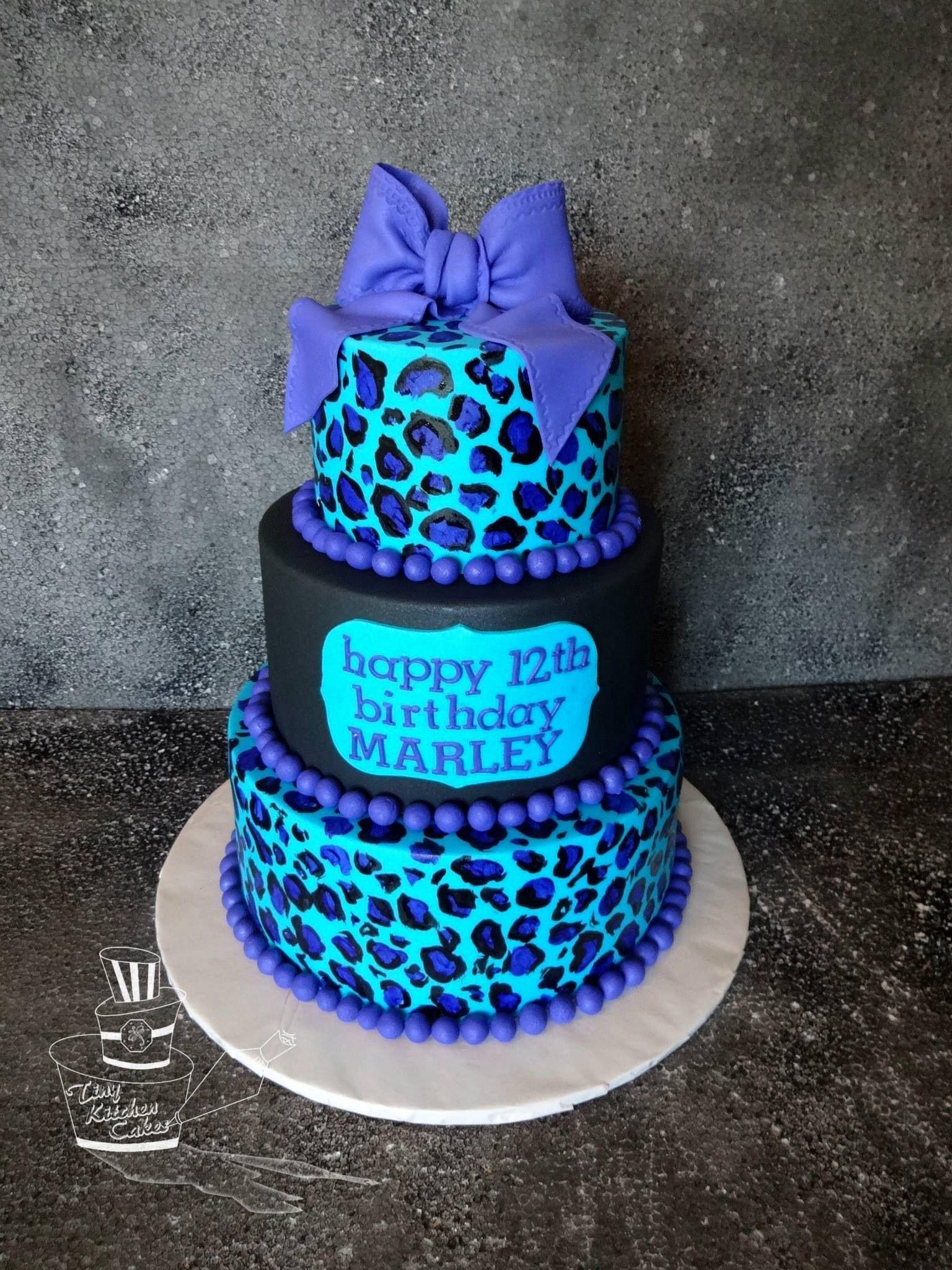 Black And Turquoise Cheetah Print Birthday Cake Tiny Kitchen