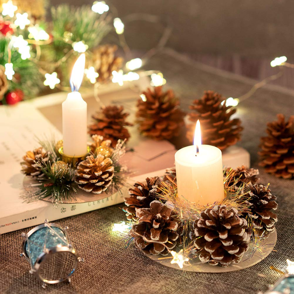 Christmas Table Decoration Set Of 4 Candle Holders With Natural Pine Cones A Christmas Table Centerpieces Christmas Table Decorations Christmas Table