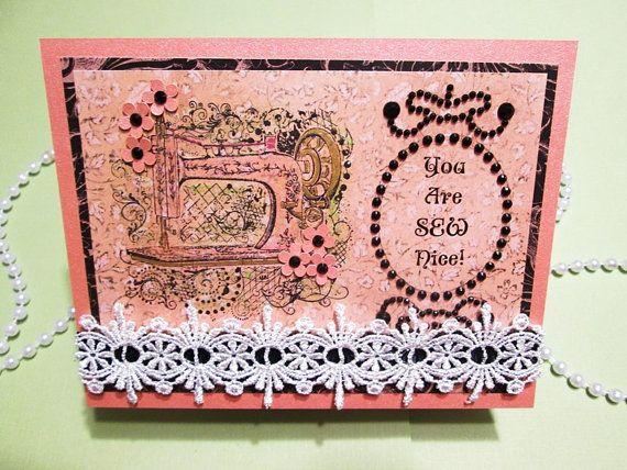 Handmade Card  Vintage sewing machine by PrettyPaperGreetings