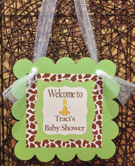 Door Hanger Lime Green Brown and Baby Blue by EmeraldCityPaperie - baby shower nia
