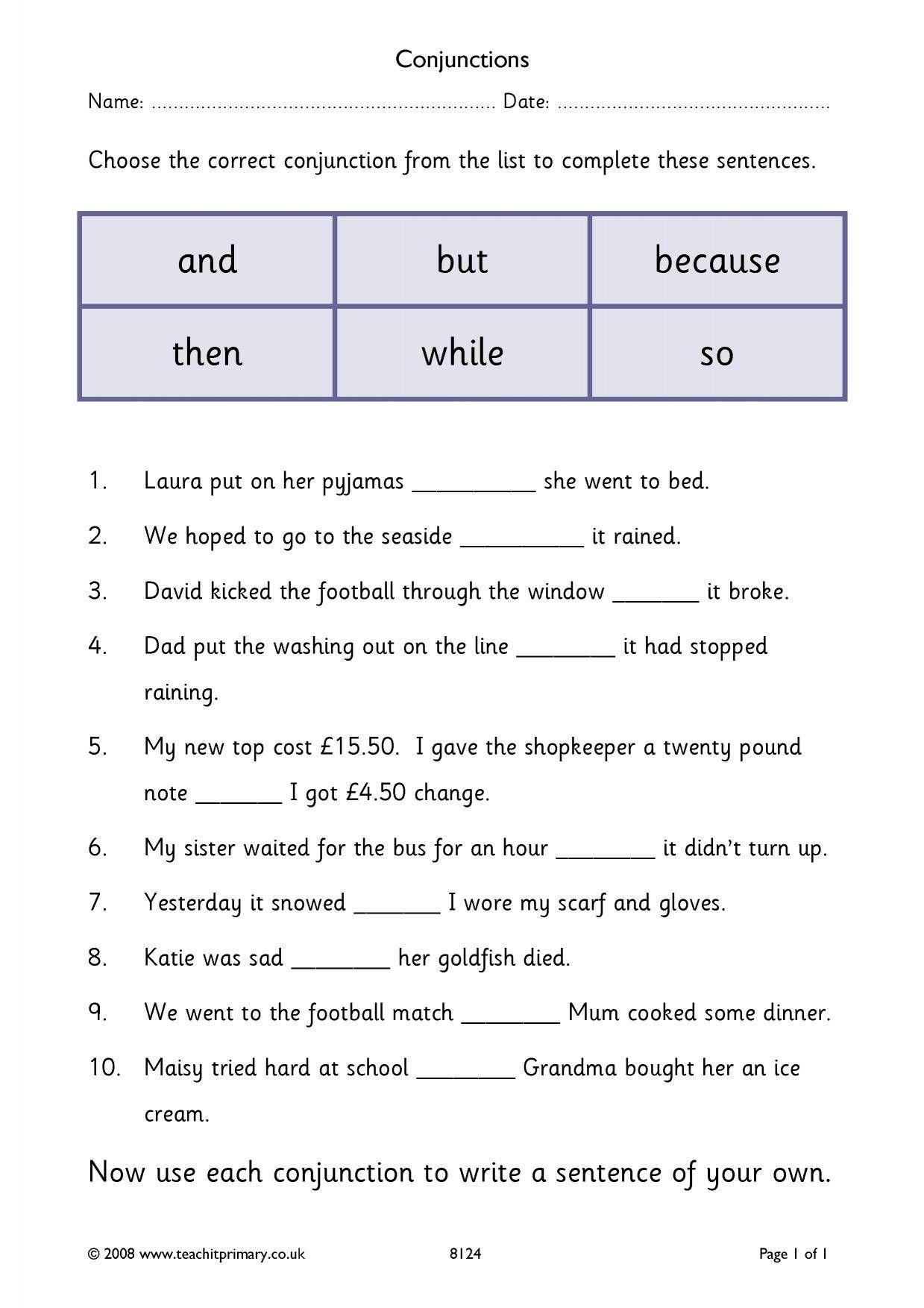Conjunctions Cloze In