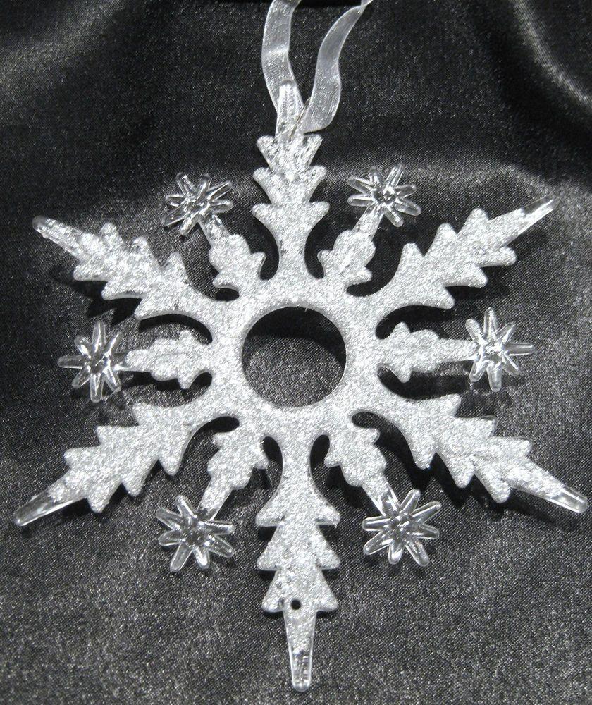Christbaumschmuck Schneeflocke Eiskristall Silberglimmer Ca