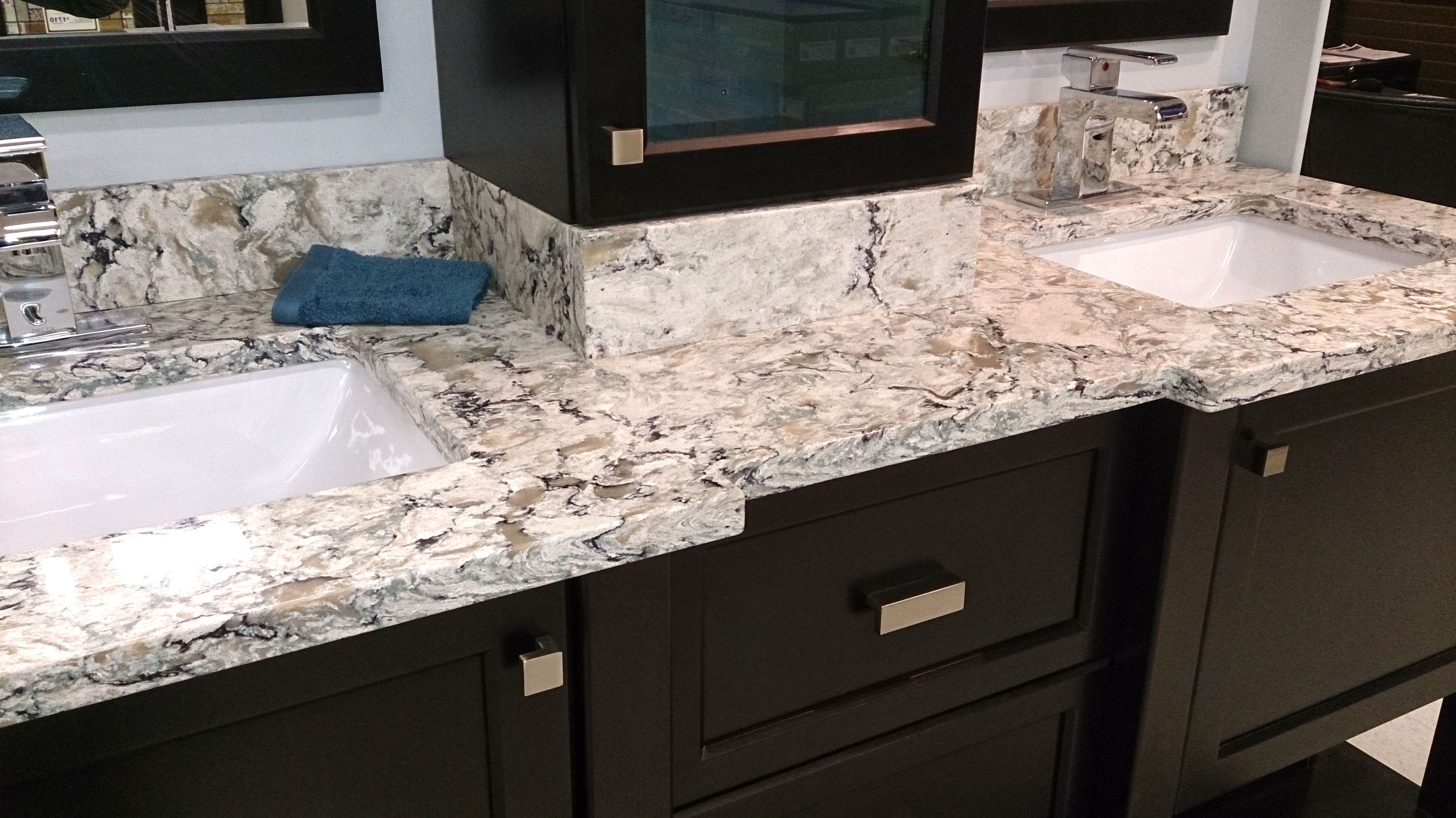 Cambria Praa Sands With Matching Backsplash And Bump Outs Around The Sinks Quartz Bathroom Lavatory Design