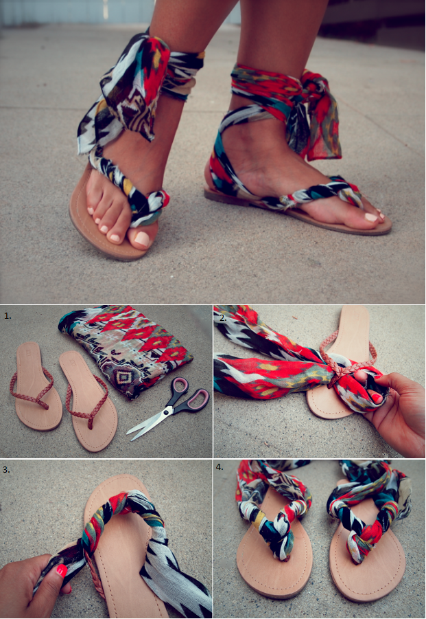 580fd4575619 Make your own sandals in less than 10 minutes! You will need a pair of…