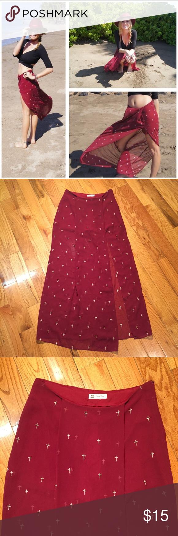 Cotton candy maxi gauze skirt crosses burgundy m sheer maxi skirt