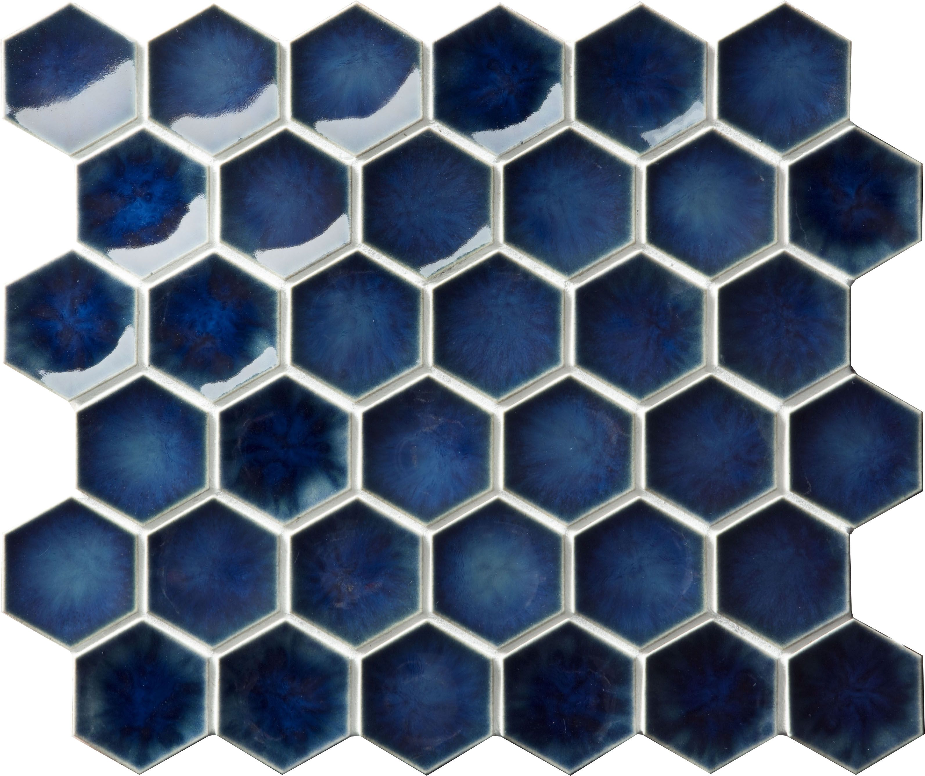 Setto 2 Godai Concave Hex In Gloss Blue Japanese Tile Mosaic