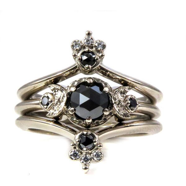 Gothic Bohemian Moon and Crown Engagment Ring Set Black and White