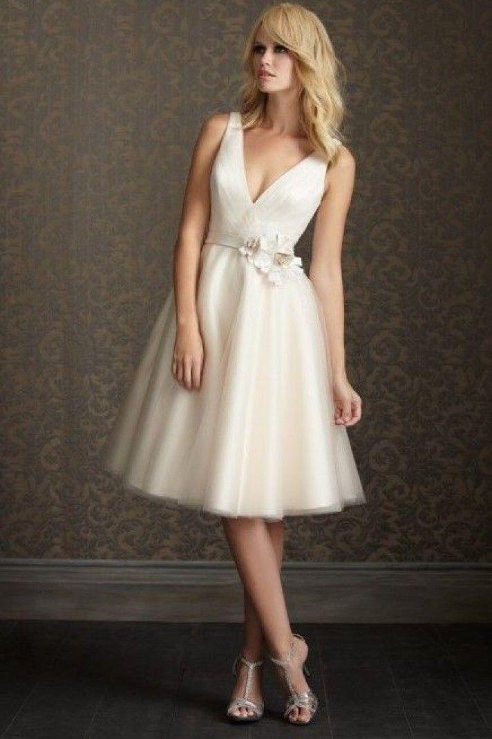 SHIRLEY - Short V-neck A-line Cheap Knee length organza and satin Wedding dress