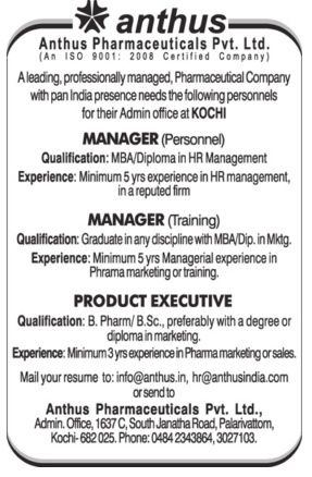 Anthus Pharmaceuticals Pvt Ltd Hiring Manager  Apply For Best