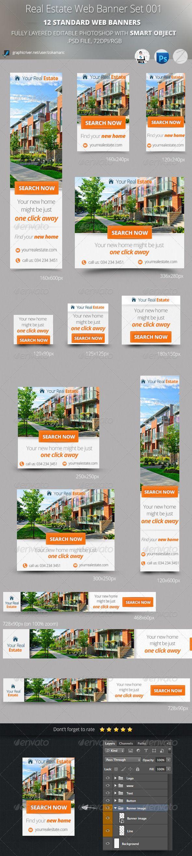 Real Estate Web Banner Set 001 Web Banner Real Estates Design Real Estate