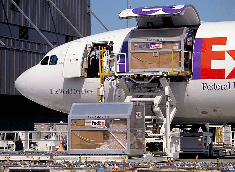 FedEx Express Federal Express cargo plane   freighter being loaded - fedex jobs