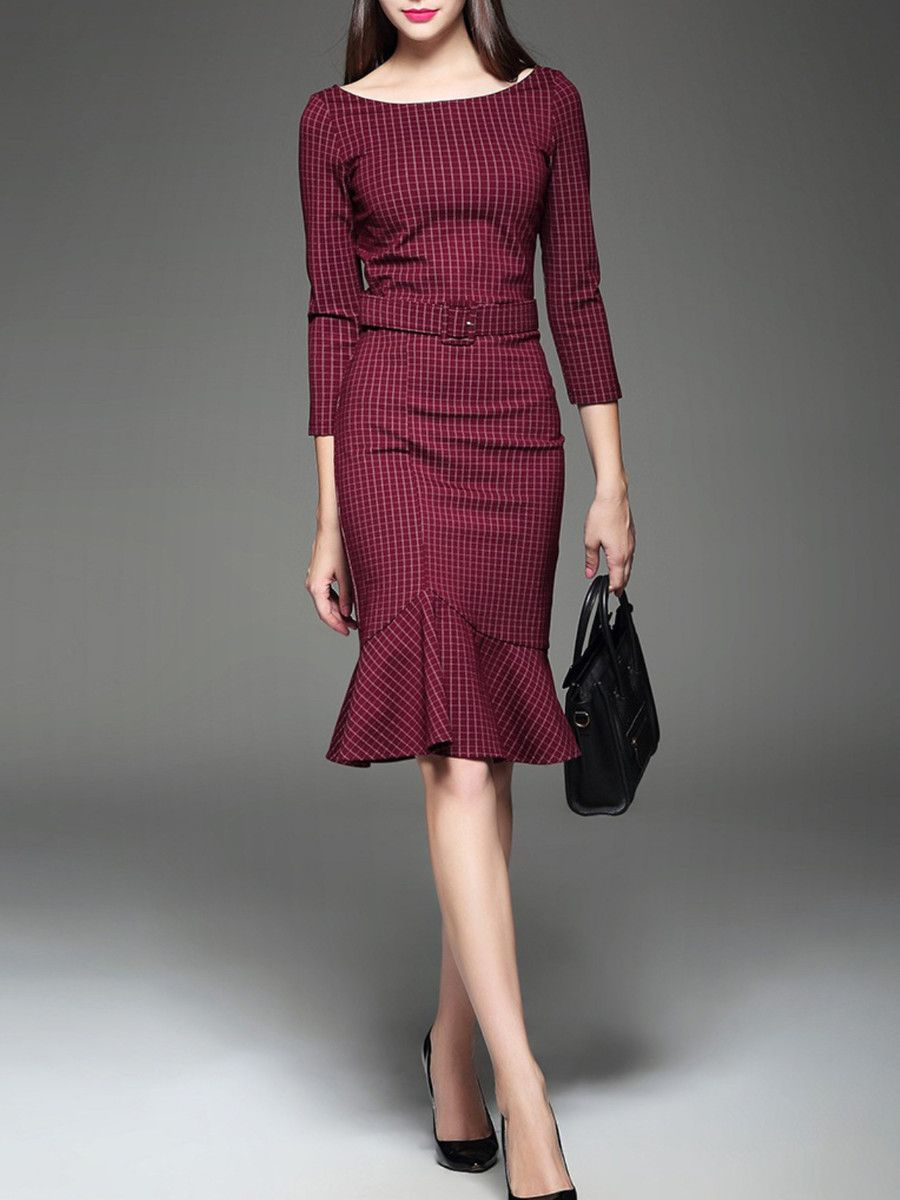Red cottonblend checkeredplaid sleeve midi dress plaid