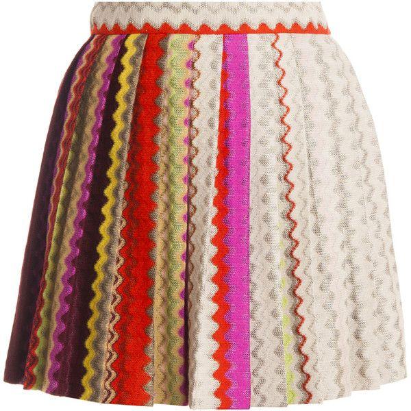 MISSONI Pleated Mini Skirt (1.185 BRL) ❤ liked on Polyvore featuring skirts, mini skirts, bottoms, saias, pleated flare skirt, pink pleated skirt, flared pleated skirt, knit mini skirt and pink skirt