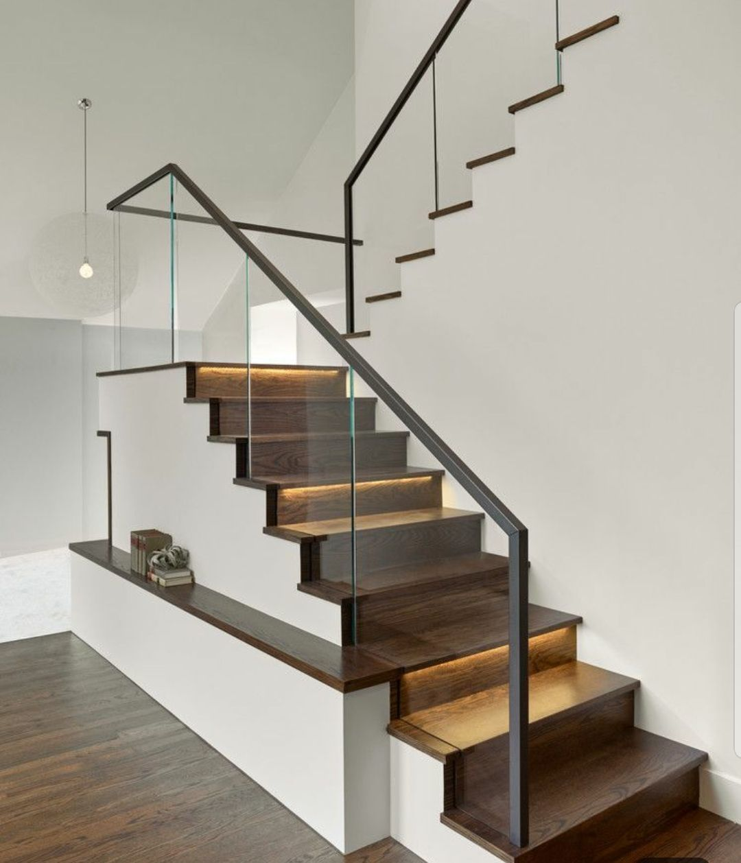 Minimalist Glass Railing For Dark Wood Staircase