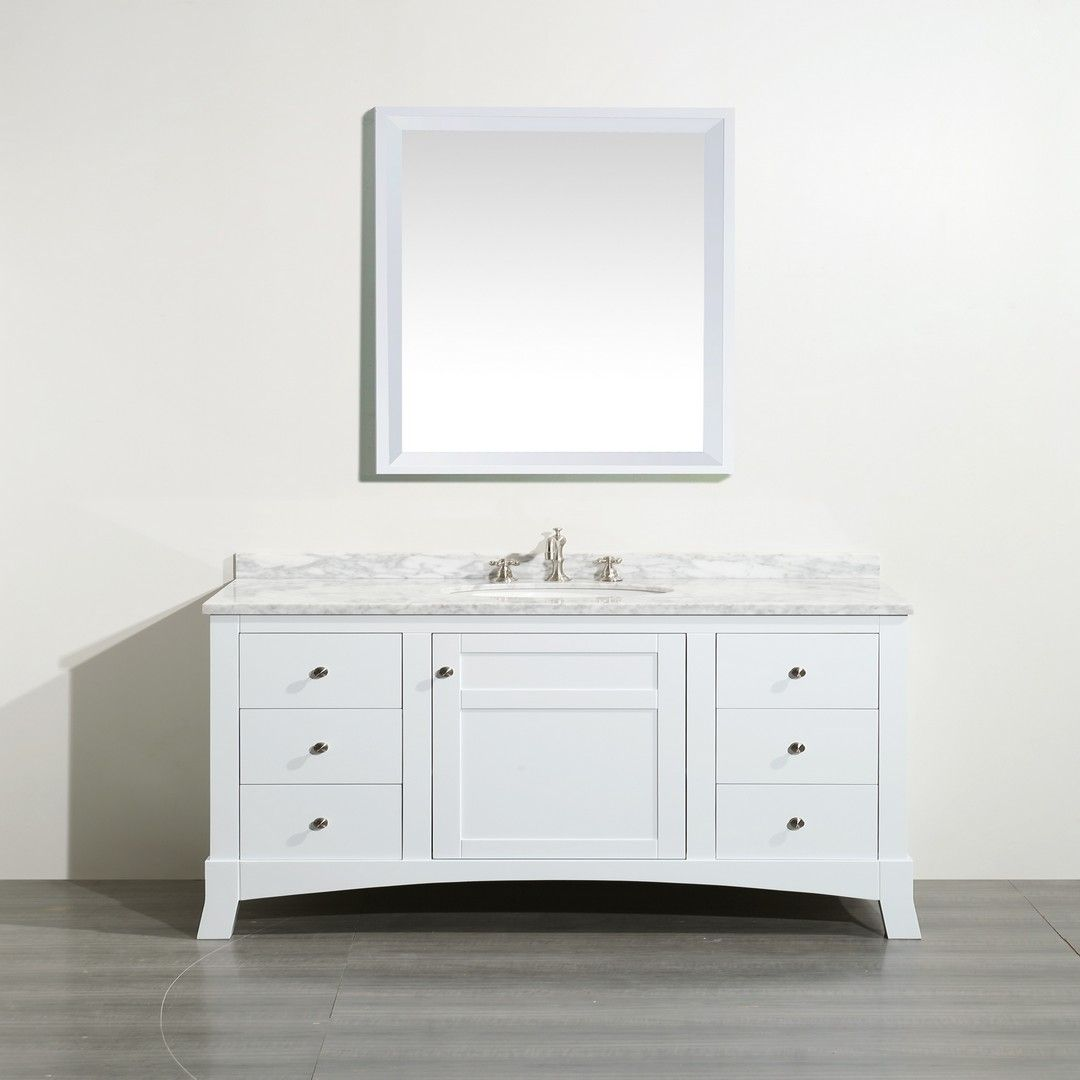 Eviva New York 48 White Bathroom Vanity With White Marble