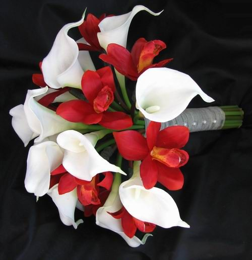 White Lily And Red Orchid Bouquet Silk Wedding