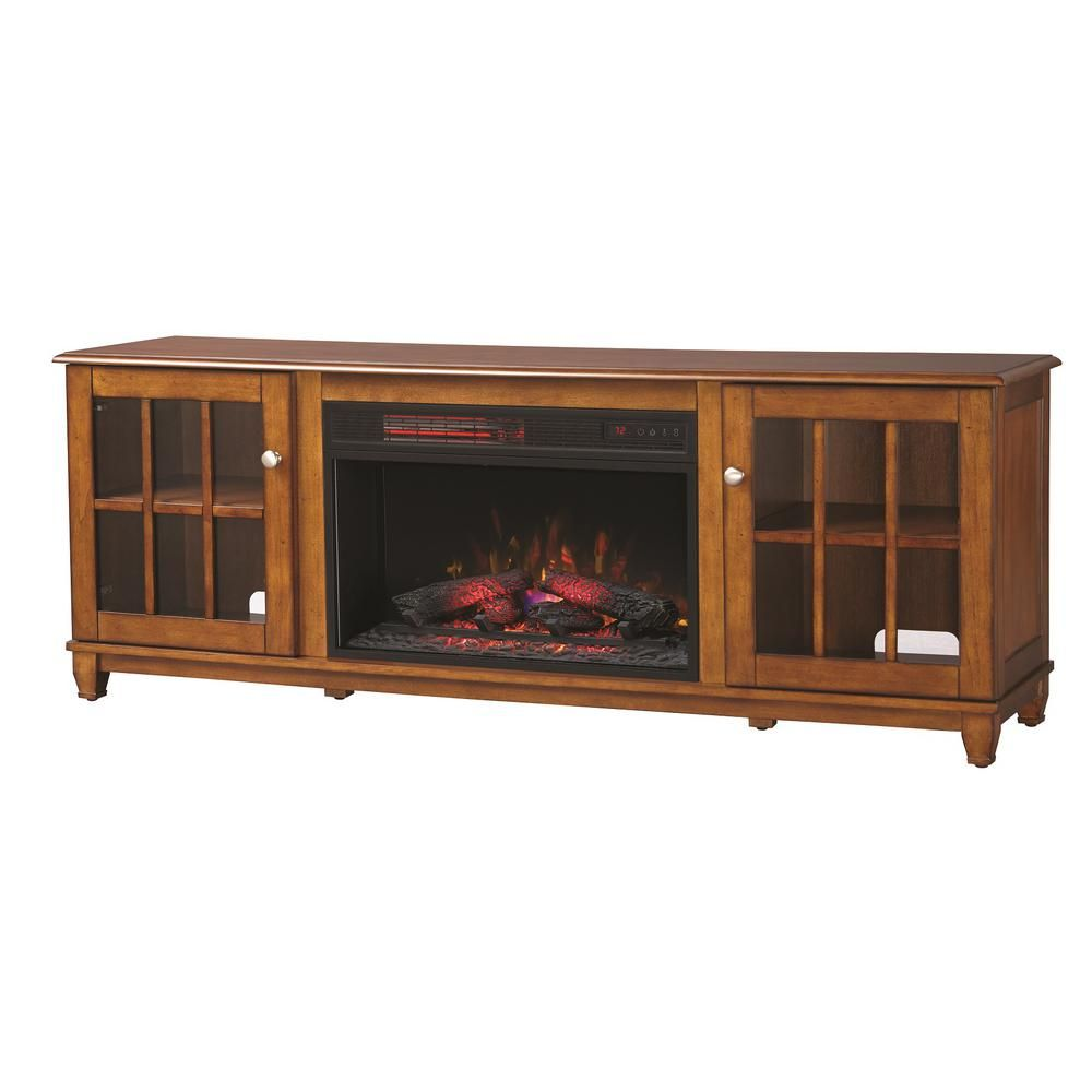 Home Decorators Collection Westcliff 66 In Lowboy Tv Stand Electric Fireplace In Chestnut With Images Freestanding Fireplace Electric Fireplace Fireplace Hearth