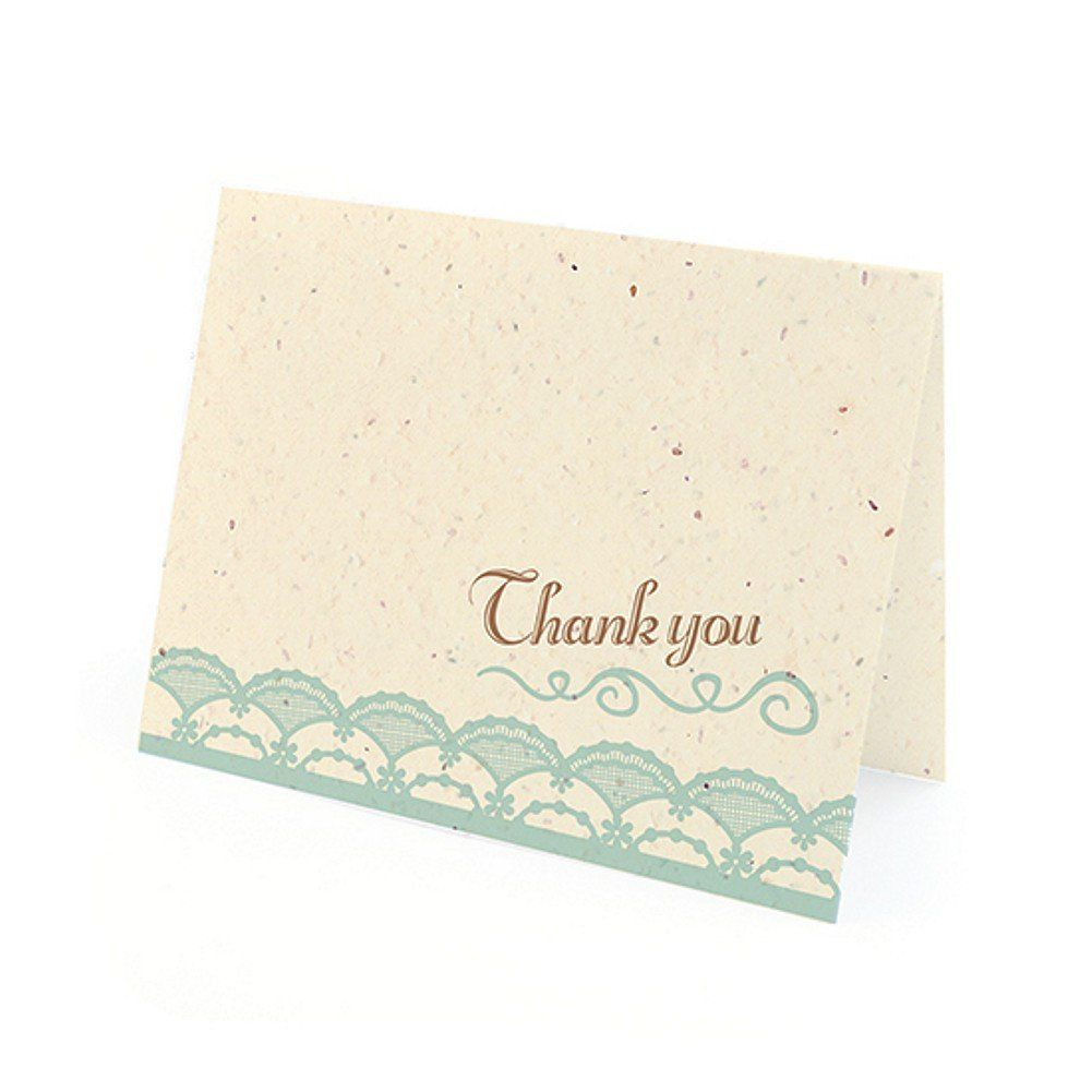Rustic Lace Plantable Thank You Cards in Blue with White Envelopes ...
