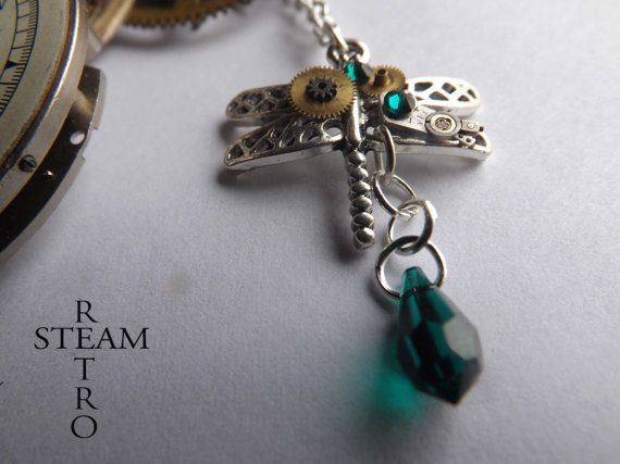 FREE SHIPPING USA**The Emerald Odonata Necklace - Steampunk Jewelry by Steamretro
