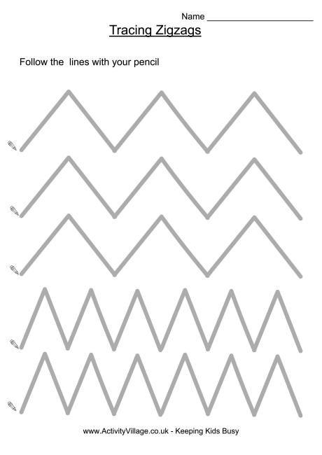 Tracing Zigzags Tracing Worksheets Preschool Pattern Worksheet Alphabet Activities Preschool Zig zag worksheets for kindergarten