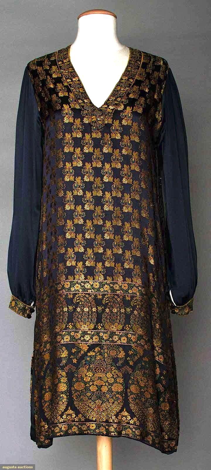S silk brocade day dress navy satin ground wpersian inspired