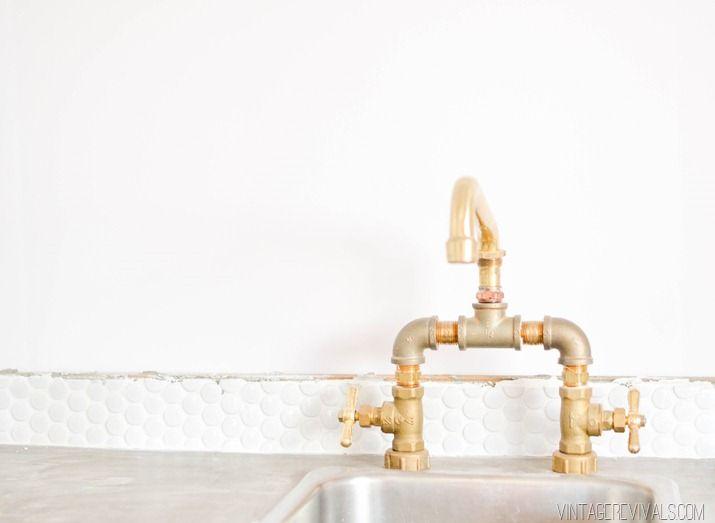 DIY Brass Bridge Faucet | Brass faucet, Faucet and Basement walls
