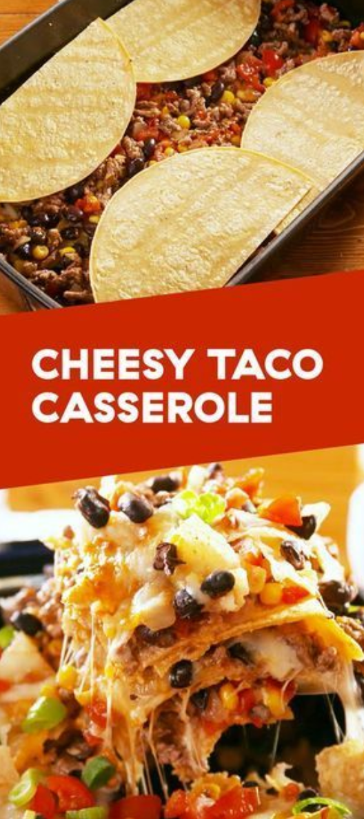 This Cheesy Taco Casserole is a cheesy, meaty main course that's guaranteed to be a hit with your family! It's easy to throw together for a weeknight dinner and will be on your table in #mexicanchickentacos