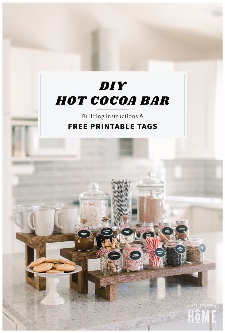 DIY Hot Cocoa Bar & Free Printable Tags - House Becoming Home