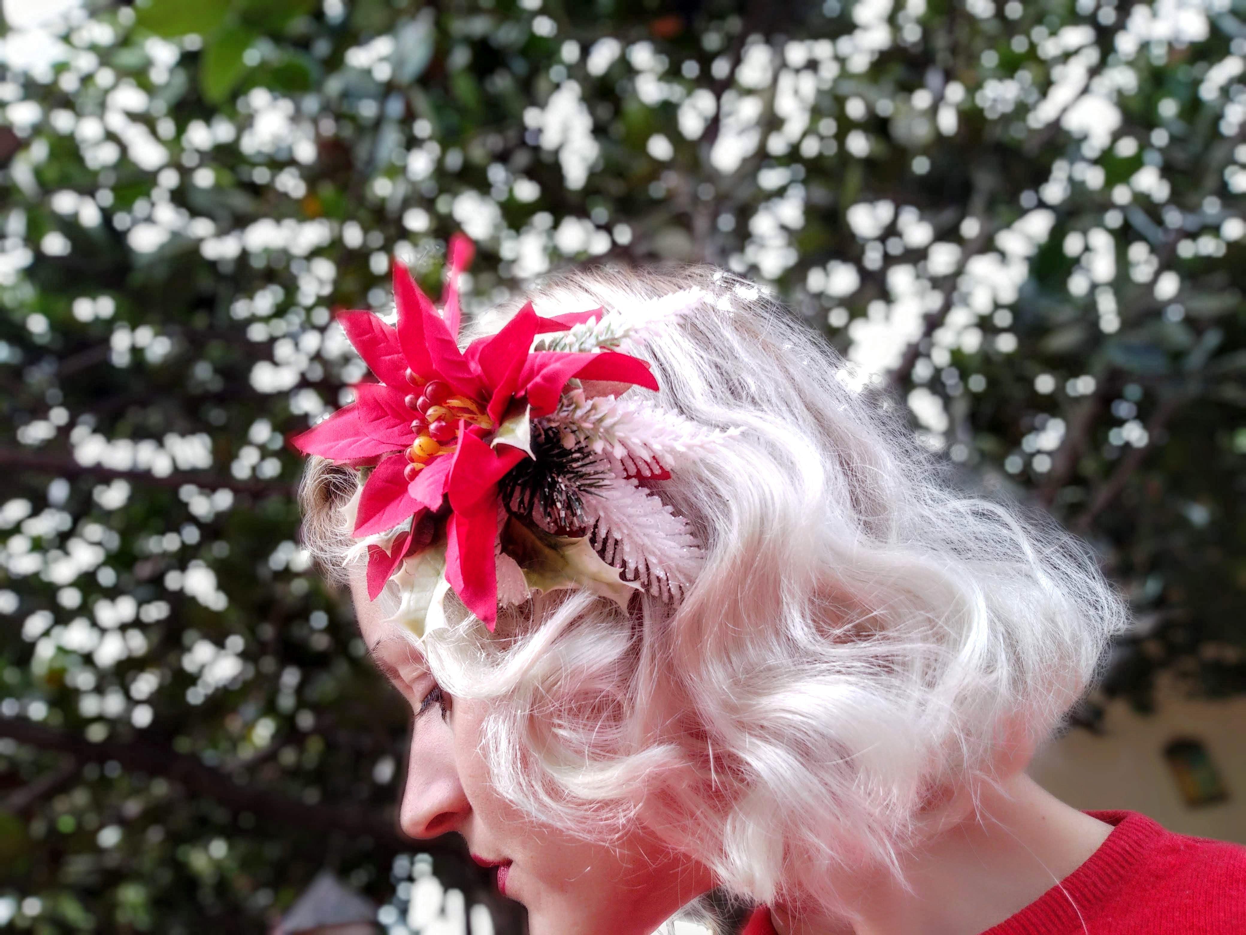 Christmas Flower Hair Clip Accessory Poinsettia Mistletoe Etsy Hair Pieces Unique Hair Clip Flower Hair Clips