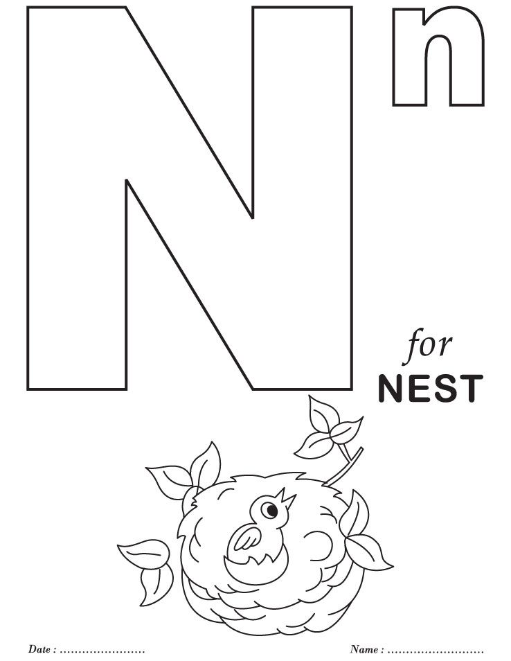 Printables Alphabet N Coloring Sheets
