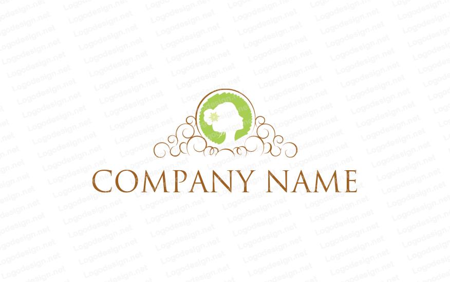 Lady inside circle Salon logo design, Beauty logo design