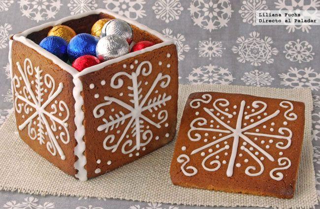 Caja elaborada con masa de galletas de Navidad