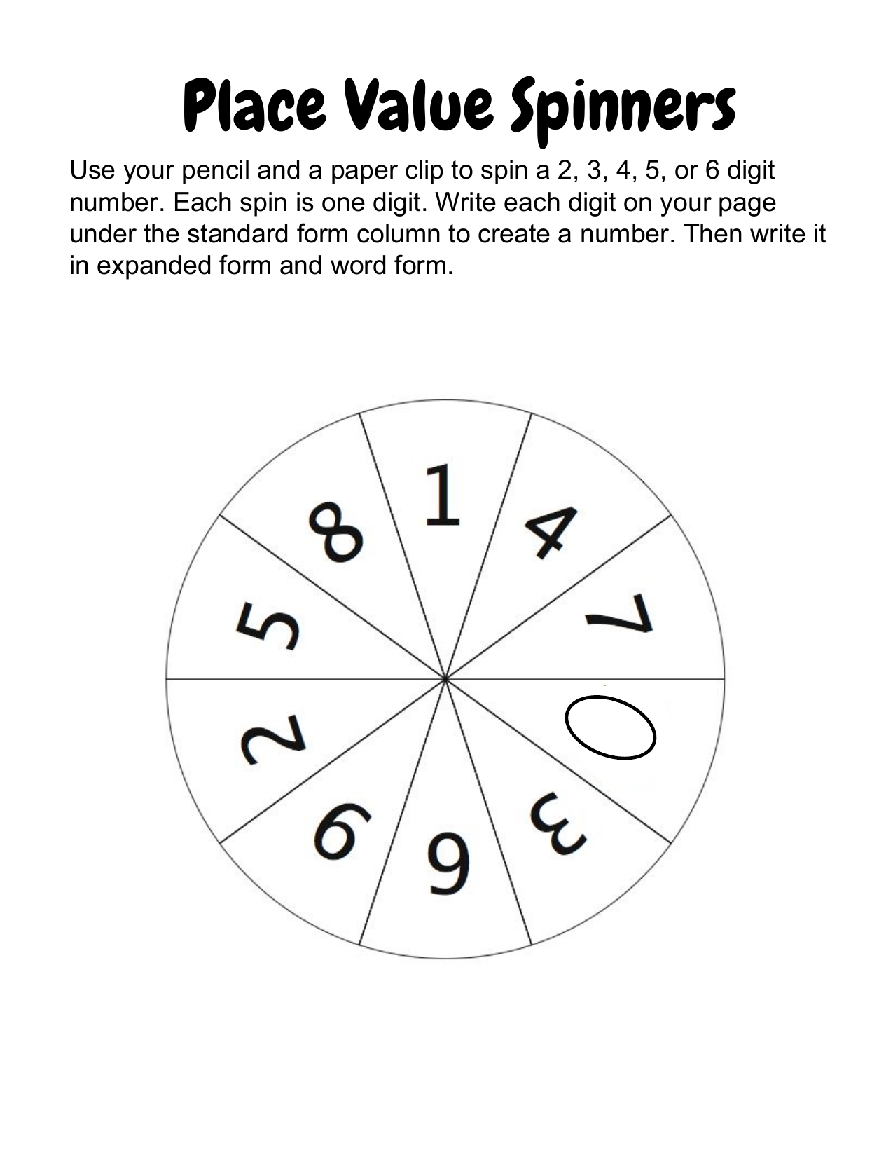 Place Value Spinners Resource Preview