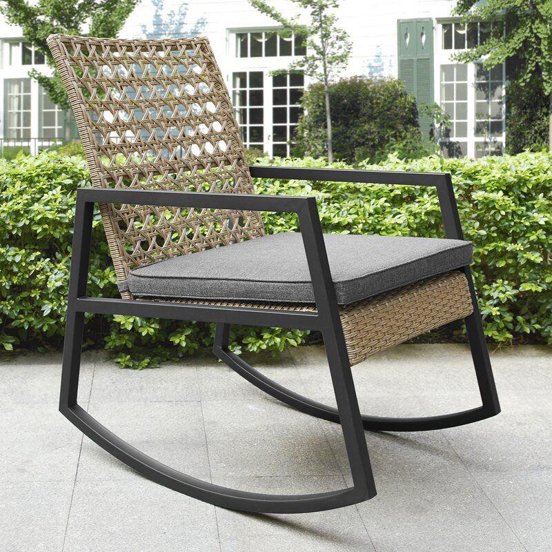 Shifflett Modern Patio Rocking Chair With Cushions Reviews