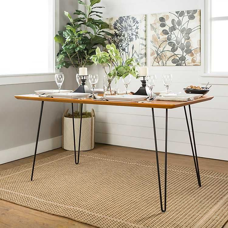 Modern Hairpin Rectangular Walnut Dining Table Walnut Dining
