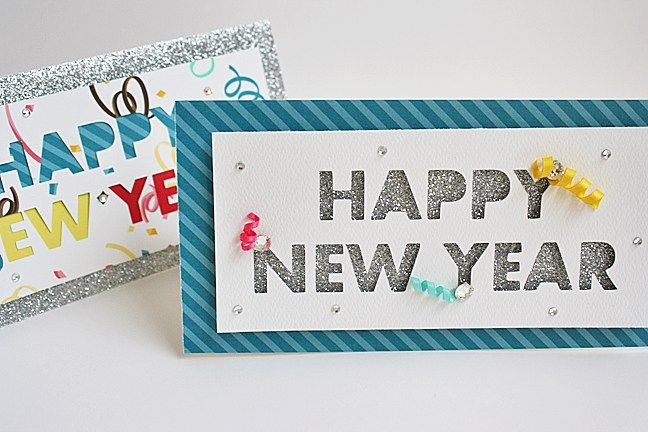 happy new year handmade cards using silhouette cameo