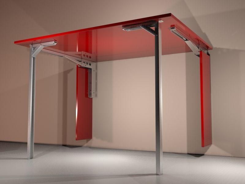 Mesa de cocina de pared abatible hecha con escuadras for Mesa abatible pared cocina